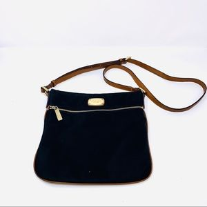 Michael Kors Black Nylon Crossbody Brown Strap Bag